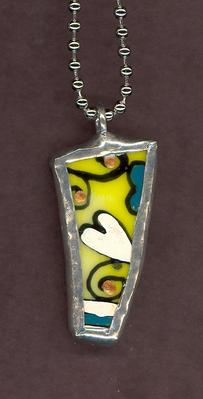 baked on glass painted necklace