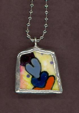 many painted hearts pendant