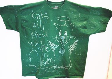 Fruit of the Loom 4XL Green 100% cotton tshirt cat angel