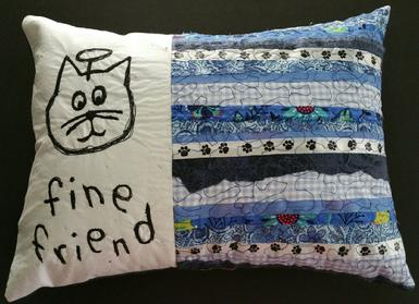 cat angel, blue quilted pillow, paw prints ribbon, handmade art, free motion sewing