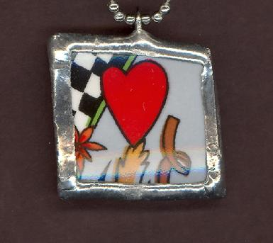 i love auto racing checker sqaure flag necklace