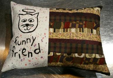 Friendship Pillow, Cat Angel,Quilted Art, Pet Gifts