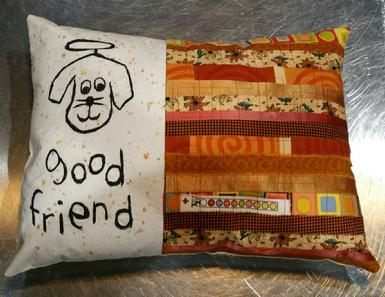 Good Dog Friend, Pet Accent Pillow, Autumn Fabric, Handmade Quilt, Free motion sewing, Pet Lover Gifts, Good Girl Designs
